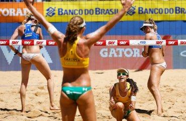 Бразильские пары Ларисса/ Талита и Алисон/Бруно выиграли турнир по пляжному волейболу в Витории волейбол, женщины, пляжный волейбол