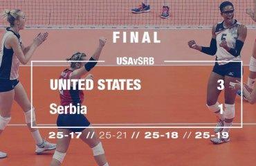Волейболистки сборной США  одержали третью победу подряд сборная США