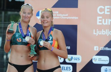 Українські пляжниці Сердюк та Романюк стали віце-чемпіонками Європи пляжний волейбол, чемпіонат європи, ю18, дар'я романюк, єва сердюк, срібні нагороди, віці-чемпіонки